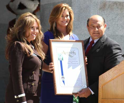 Elise Kim; Kathy Ireland, 9-1-1 for Kids Ambassador; and Calif. State Senator Lou Correa (District 34) preside over legislative event recognizing 9-1-1 dispatchers
